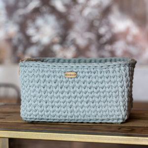 Ručně pletený košík – hranatý – světle modro – šedá
