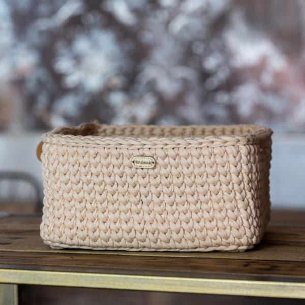 Ručně pletený košík – hranatý – přírodní béžová